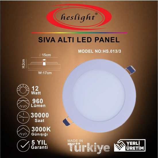 Heslight HS.013/3 12W Sıva Altı LED Panel 3000K Günışığı