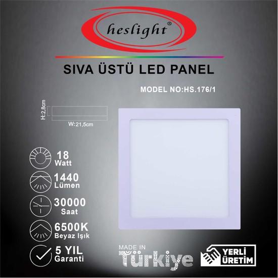 Heslight HS.176/1 20W Sıva Üstü Kare LED Panel 6500K Beyaz Işık