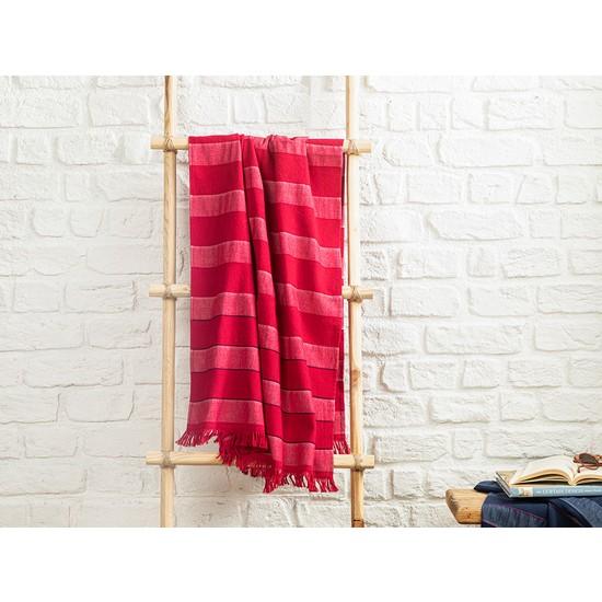 English Home Stripe New Pes Çizgili Fuşya 70 x 150 cm Plaj Havlusu