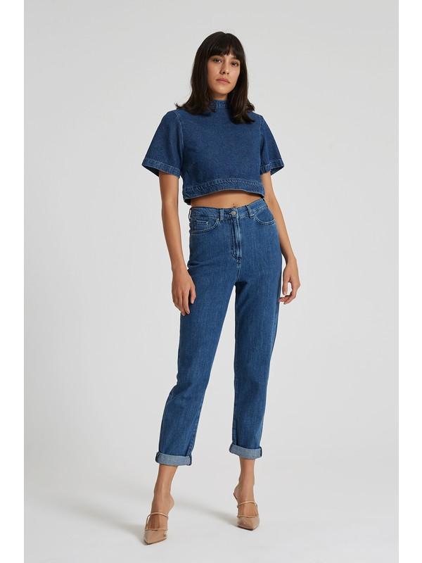 Cross Jeans Gwen Koyu Mavi Normal Bel Beli Lastikli Regular Tapered Jean Pantolon C 4667-008
