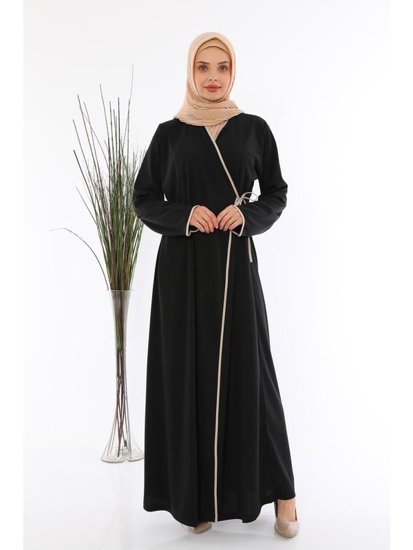 Medipek Yandan Bağlamalı Namaz Elbisesi Siyah