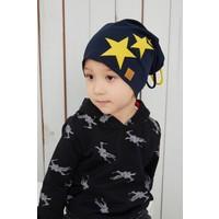 Babygiz Sarı Lacivert Fanatik Şapka Bere Yumuşak Çift Katlı Spor %100 Doğal Pamuklu Penye