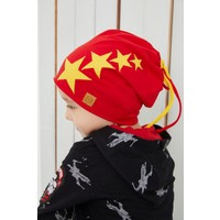 Babygiz Sarı Kırmızı Fanatik Şapka Bere Yumuşak Çift Katlı Spor %100 Doğal Pamuklu Penye