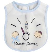 Baby Bibs Yemek Zamanı Mavi Bebek Mama Önlüğü