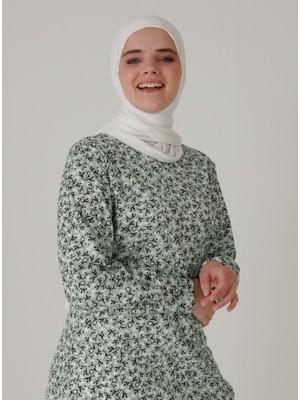 Zenane Desenli Tunik - Su Yeşili - Zenane