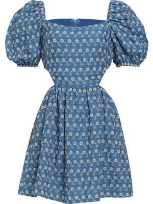 Quzu Yanları Pencere Detaylı Elbise Mavi