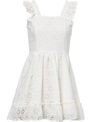 Quzu Askılı Kare Yaka Güpür Elbise Beyaz