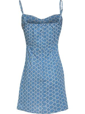 Quzu Askılı Mini Elbise Mavi