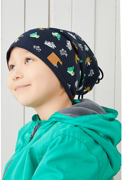 Babygiz Pamuklu Çift Katlı Yumuşak Penye Lacivert Figürlü Erkek Çocuk Bebek Şapka Bere %100 Doğal Yerli Üretim