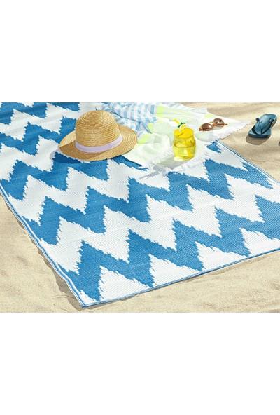 English Home Chevron Polipropilen Plaj Hasırı 90X180 cm Beyaz - Mavi