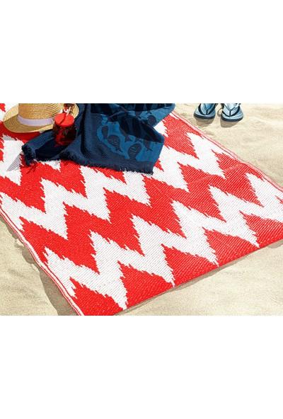 English Home Chevron Polipropilen Plaj Hasırı 90X180 cm Beyaz - Kırmızı
