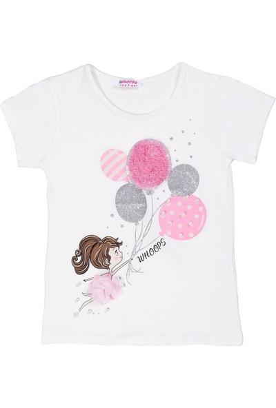 Whoops Nanu Ekru Kız Çocuk Inci Detaylı Simli Balonlu Tişört