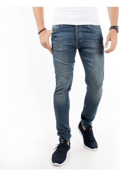Deepsea Mavi Likralı Dar Kesim Taşlanmış Yıpratmalı Erkek Kot Pantolon 1802007