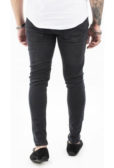 Deepsea Antracite Erkek Yırtmaçlı Likralı Dar Paça Kot Pantolon 2104651