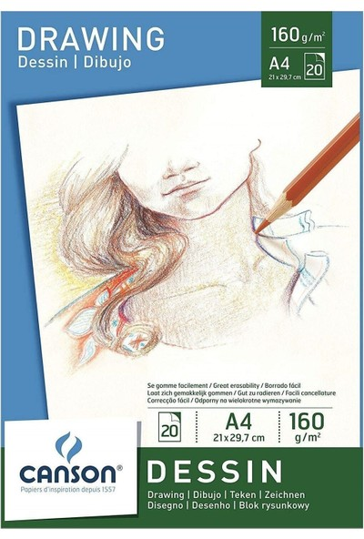Canson Dessin Drawing Eskiz Çizim Defteri Blok 160 Gr. A4 20 Sayfa
