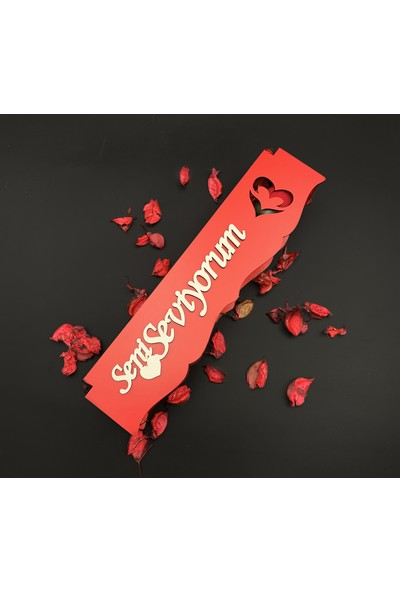 Bosphorus Concept Seni Seviyorum Ahşap Kutuda Tek Gül ve Sevgili Cüzdanı