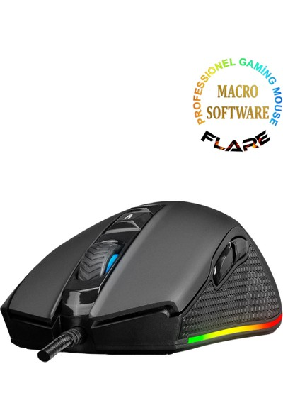 Rampage SMX-R51 FLARE Makrolu 10000 DPI RGB Ledli Profesyonel Gaming Oyuncu Mouse - Siyah