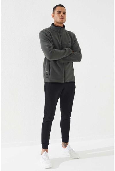 Tommy Life Haki Erkek Fermuarlı Sweatshirt Slim Fit Dik Yaka Polar-87270