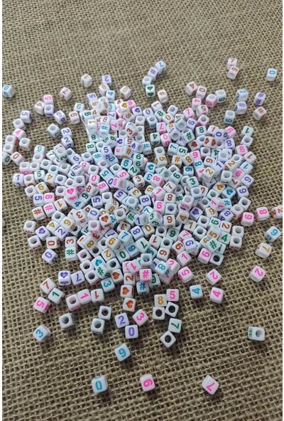 platin hediyelik 100 gram açık renkli rakam küp boncuk