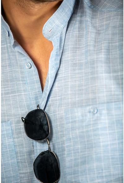 Bay Efendi Erkek Açık Mavi Cepli Çizgili Filamlı Pamuk Regular Fit Bol Kesim Keten Gömlek 8010