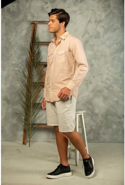 Erkek Bej Filamlı Pamuk Keten Klasik Kesim Çift Cepli Basic Gömlek