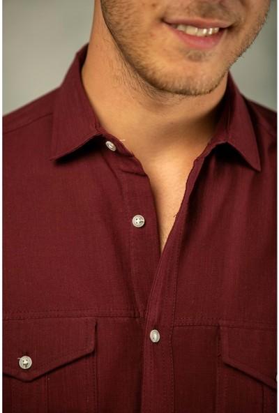 Erkek Bordo Filamlı Pamuk Keten Klasik Kesim Çift Cepli Basic Gömlek