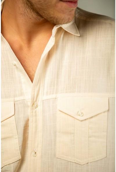 Erkek Krem Filamlı Pamuk Keten Klasik Kesim Çift Cepli Basic Gömlek