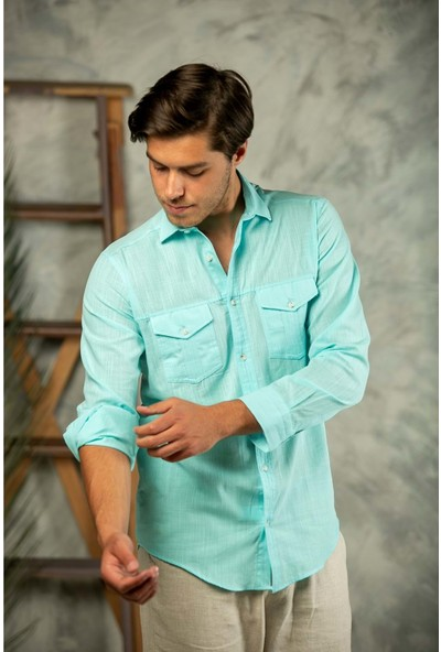 Erkek Su Yeşili Filamlı Pamuk Keten Klasik Kesim Çift Cepli Basic Gömlek