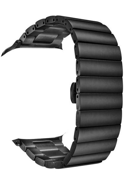 Smcase Apple Watch 44MM Kordon Şık Tasarım Metal Kordon Krd-41 Siyah