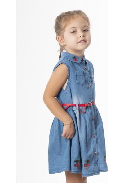 Varol Kids Kiraz Nakışlı Kız Çocuk Kot Elbise