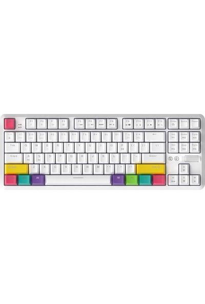 Ajazz K870T Bt ve Kablolu Çift Modlu Klavye RGB 87 Siyah Anahtar (Yurt Dışından)