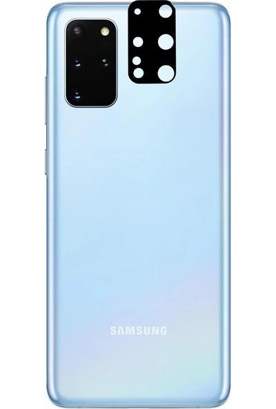 Kny Samsung Galaxy S20 Plus Için Full Yapışan 3D Kamera Cam Koruyucusu Siyah Siyah