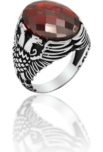Midyat Nurtaş Gümüş Kırmızı Zirkon Taşlı Çift Kartal Model Erkek Gümüş Yüzük