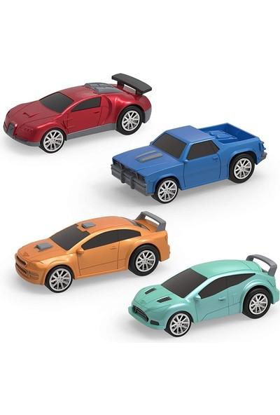 Driven 4'lü Çek-Bırak Araba Seti - Turkuaz/turuncu/mavi/kırmızı