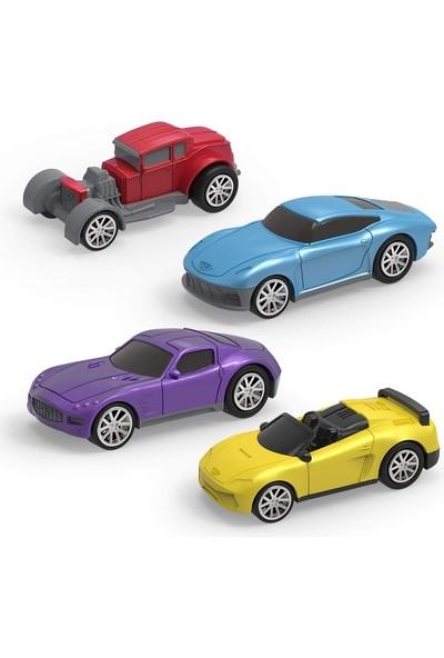 Driven 4'lü Çek-Bırak Araba Seti - Mavi/kırmızı/mor/sarı