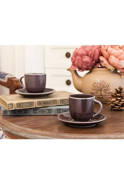Madame Coco Morane 2'li Kahve Fincan Seti - Mürdüm