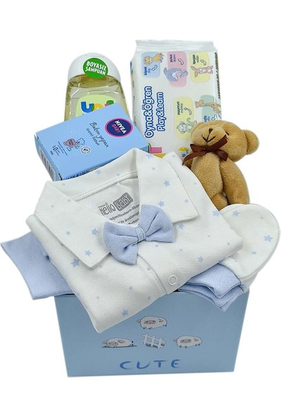 Ambalajist Bebek Kutusu Mavi Kuzular 3 No Yeni Doğan Hediyelik Ürünler