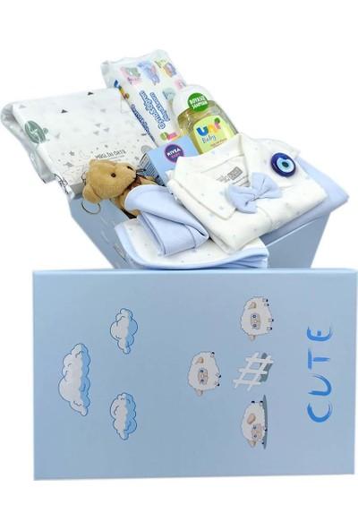 Ambalajist Bebek Kutusu Mavi Kuzular 4 No Yeni Doğan Hediyelik Ürünler