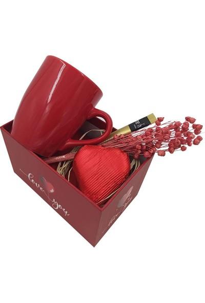 Ambalajist Hediye Kutusu Kırmızı Kalp 1 No Porselen Kahve Takımı Set
