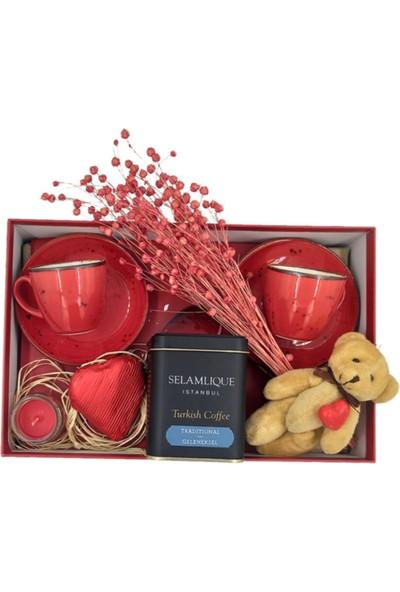 Ambalajist Hediye Kutusu Kırmızı Kalp 4 No Porselen Kahve Takımı Set