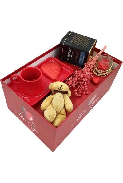 Ambalajist Hediye Kutusu Kırmızı Kalp 4 No Seramik Fincan Kahve Seti