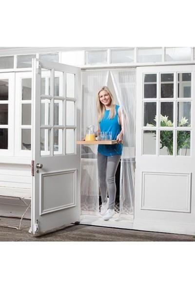 Mıknatıslı Kapı Sinekliği Balkon Bahçe Kapısı Sinek Böcek Önleyici Tül Perde 2 Parça