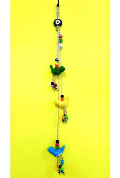 NAZAR Renkli Kuş Figürlü Renkli Boncuklu Bahçe Duvar Balkon Süsü 55 cm