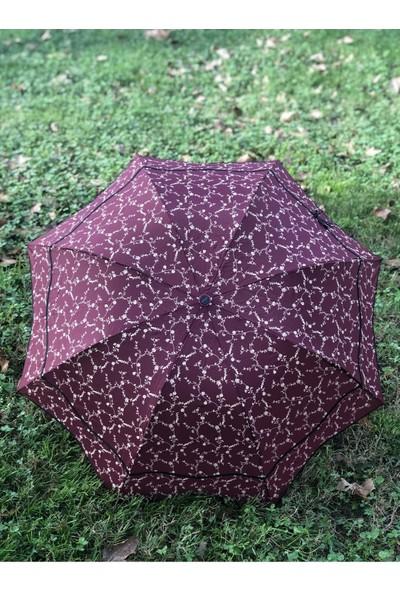 Marlux Rüzgarda Kırılmayan Üstü Çiçek Dalları Detaylı Fiyonklu Siyah Kadın Şemsiye