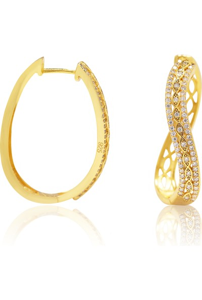 Glint Point Altın Rengi Kaplama Örgü Model Gümüş Küpe