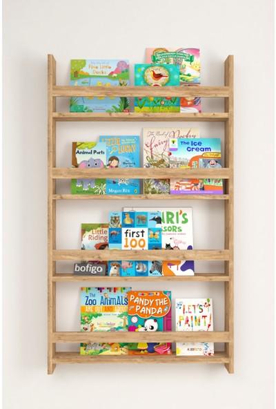 Bofigo 4 Raflı 120 x 70 cm Montessori Kitaplık Eğitici Çocuk Kitaplığı Çam