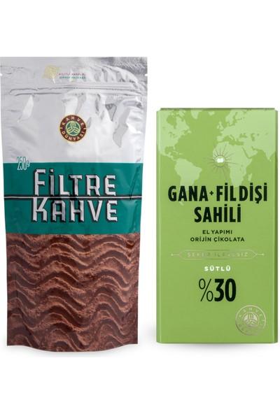 Filtre Kahve 250 gr + Şeker İlavesiz Gana Fildişi Sütlü Çikolata 100 gr