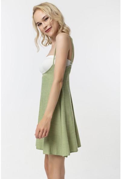Coral Ince Askılı Elbise Yeşil