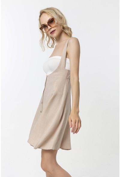 Coral Kalın Askılı Düğmeli Elbise Bej