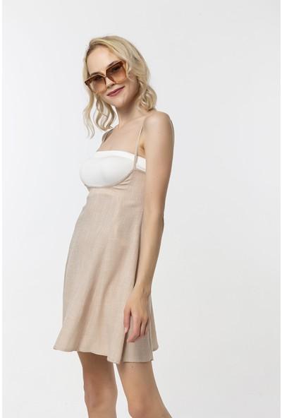 Coral Ince Askılı Elbise Bej